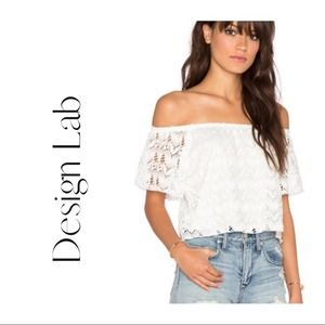 Design Lab White Lace Off Shoulder Top Size Small